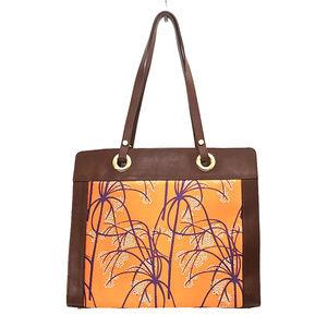 🧡💜Agnes & Hoss Orange/Purple Silk/Leather Tote